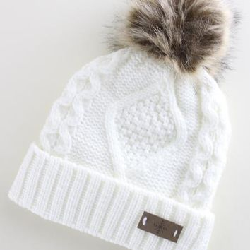 Fleece Lined Pom Pom Beanie