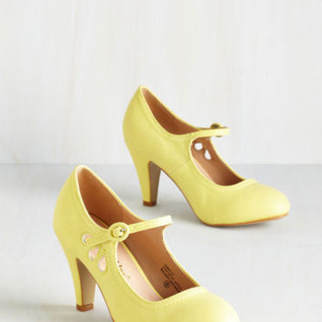 ModCloth Vintage Inspired Jive O'Clock Somewhere Heel in Daffodil