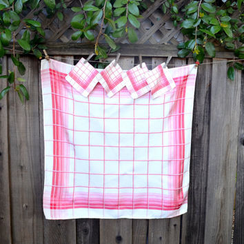 Vintage Linen Tablecloth And Napkin Set, Red And Pink Plaid, Square Card  Tablecloth +