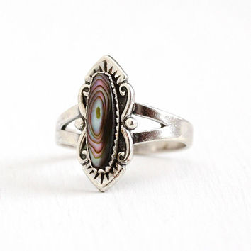 Vintage Abalone Ring - Sterling Silver Colorful Iridescent Shell Gem Jewelry - 1960s Size 8 1/2 Retro Southwestern Statement Bell Trading Co