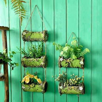 WCIC Simulation Wood Flower Planter Flora Baskets Multi-Layers Hanging Wall Wedding Home Pastoral Decoration Metope Flower Pot