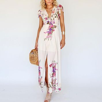 Maxi Wrap Floral Print Women Dresses Short Sleeve Elegant Beach Boho Party Long Dress