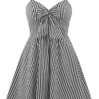"Women's ""Retro Doll"" Striped Dress by Double Trouble Apparel (Black/White)"