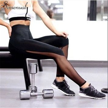 High waist mesh leggings athleisure 2017 sporty style fitness women slim legging harajuku summer black sexy leggins push up sale