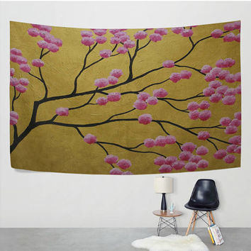 Golden Japanese Cherry Blossom Tapestry Wall Hanging Sakura Flower Tree Branches Oil Painting Wall Decor Art for Living Room Bedroom Dorm