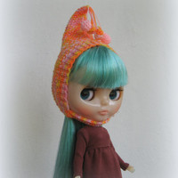 Blythe hat orange pink knitted hat for Blythe doll, hand knit fantasy cap, blythe outfit, gnome hat, pixie hat, beanie, multicolor