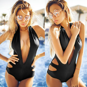 Black Deep V-Neck Halter Backless Swimsuit