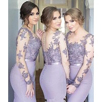 New Arrival Vestidos de madrinha 2016 Purple Mermaid Bridesmaid Dress O-Neck Sheer Long Sleeve Appliques Bridesmaid dresses l