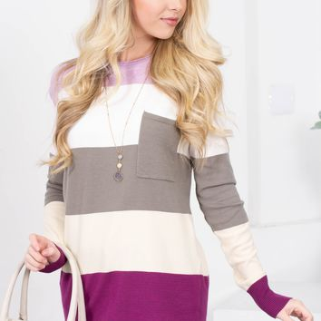 Purple Lilac Block Pocket Top