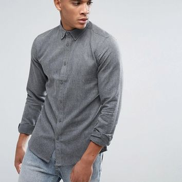 Solid Chambray Shirt With Button Down Collar In Regular Fit at asos.com