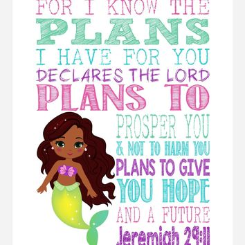African American Ariel Christian Princess Nursery Decor Wall Art Print - For I Know The Plans I Have For You - Jeremiah 29:11 Bible Verse - Multiple Sizes
