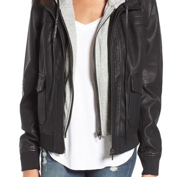 BLANKNYC Layered Faux Leather Flight Jacket | Nordstrom