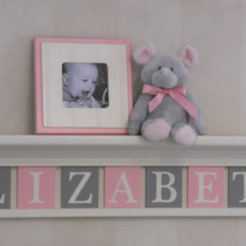 "Baby Girl Nursery with Wall Shelf Name / Sign  36"" Linen (Off White) Shelf - 9 Letter Wooden - ELIZABETH - Painted Pink and Gray Plaques"