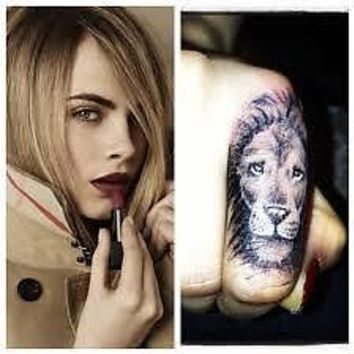 Temporary Tattoo Black Lion Finger Tattoo TT420