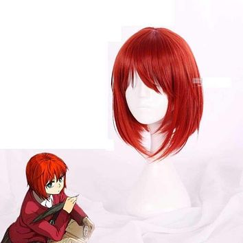Mahoutsukai no Yome Hatori Chise Short Orange Red Heat Resistant Cosplay Costume Wig + Track + Cap