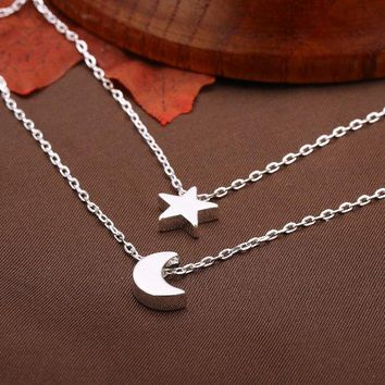Sweet Alloy Star Moon Double Chain Necklace