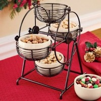 Rotating Snack Carousel with Ceramic Bowls