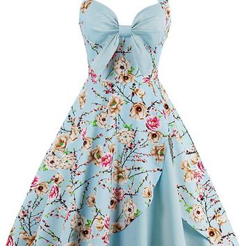 Atomic Sky Blue Vintage Inspired Floral Dress