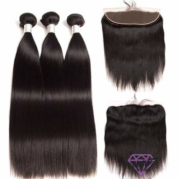 Brazilian Silky Straight Hair Extensions 3 Bundles With Lace Frontal
