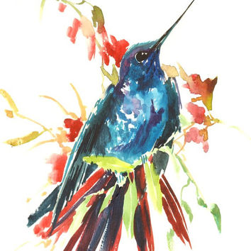 Hummingbird, Original watercolor, 12 X 9 in,Humminbgbird painting, illustration, bird art, Birds and flowers