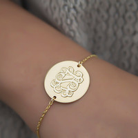 Gold Monogram Bracelet - Personalized dics Monogram letters Customized Gold circle Monogram Bracelet 3 Intial Gold Monogram wedding gift