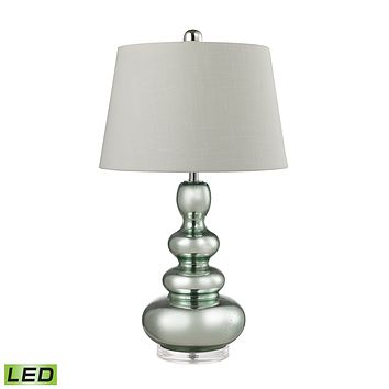Stacked Gourd LED Table Lamp in Silvery Mercury With Light Green Accents