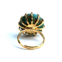 Turquoise Round Adjustable Ring Mosaic Coin Bead Set in a Vintage Gold Tone Prong Ring