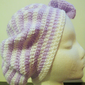 Striped hat, slouchy hat, crochet hat with bow