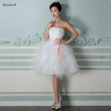 drnwof 2017 Cheap Short Ball Gown Lace Wedding Dresses for Woman Sleeveless Strapless Formal Wedding Party Dress with Belt