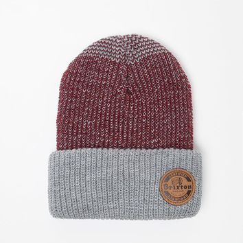 Brixton Soto Beanie - Mens Hats - Gray/Burgundy - One