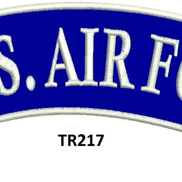 US AIR FORCE White on Blue Patch for Motorcycle Jacket Vest