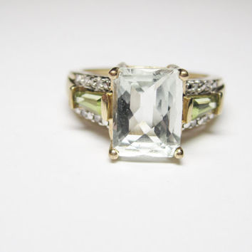 Vintage 10K Aquamarine and Peridot Ring Size 5