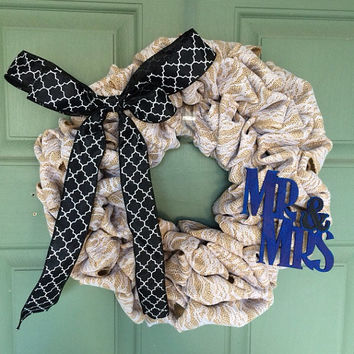 Black and Blue Mr. and Mrs. Burlap Wreath