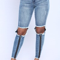 Kelsey Zipper Jeans - Medium Denim