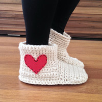 Valentines Day Gift for Her Crochet Slippers Womens Slippers with Felted Heart Wool Slippers Socks House Shoes Gift For Women Crochet Socks