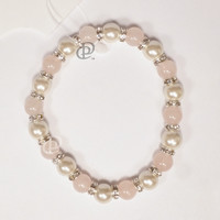 MagneHealth Rose Quartz and White Magnetic Beads Elastic Bracelet