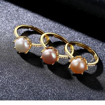 Brand Crown Shape Eight Paws Natural Pearl Sterling Silver Wedding Rings for Women