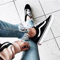 Fashion Online Vans With Warm Casual Shoes Men And Women Classic Black Cloth Shoes Black