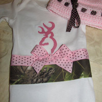 Custom Handmade browning inspired camo camouflage pink Onesuit with crocheted hat