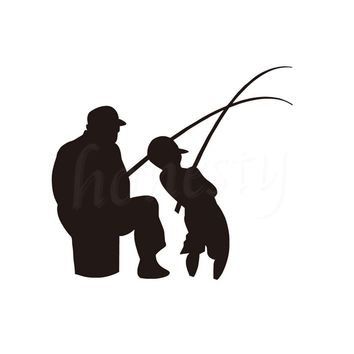 Man and Boy Fishing Car Wall Sticker Home Glass Window Door Fish Hunting Styling Waterproof Black Vinyl Decal 13.0cmX11.5cm