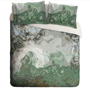 Duvet Cover with abstract art, king or queen in gray and green, River Wind