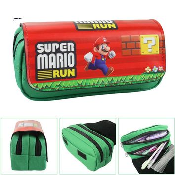 Super Mario party nes switch Cartoon  pencil case cute Large capacity Double zipper Pen bag stationery pouch kids gift school supplies escolar AT_80_8