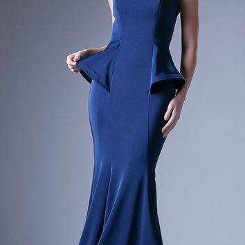 Peplum Royal Blue Strapless Mermaid Floor Length Prom Gown