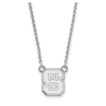 NCAA 14k White Gold North Carolina Small 'NCS' Pendant Necklace