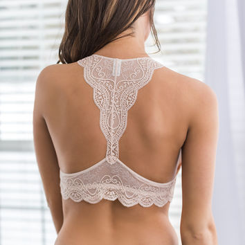 In Fair Verona Racerback Lace Bralette (Blush)