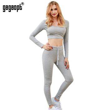 Women Tracksuit Fitness Set Sexy Leggings And Pullover Long Sleeve Skinny Pants Women 2 Piece Sets