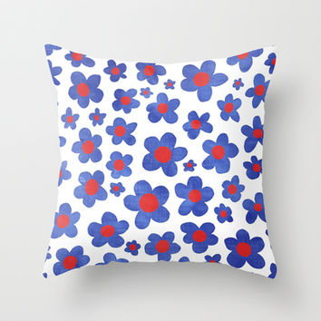 Cobalt Blue & Cherry Red Denim Painted Daisies on White Throw Pillow by micklyn