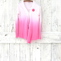 Pink Ombre Cardigan- upcycled pink cotton tie sweater- indie fashion- refashioned light jacket- eco fashion cardigan