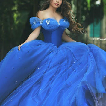 Classic New Ball Gown Cinderella Quinceanera Dresses Beads Tulle Sweet 16 Dresses Custom Amazing Royal Blue 15 Years Party Gown