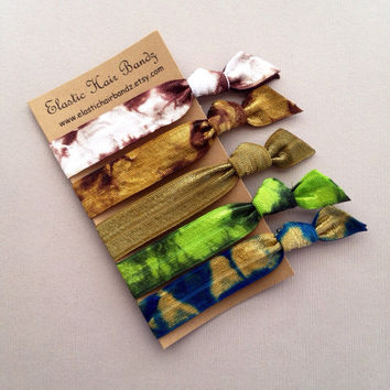 The Duck Commander Tie Dye Hair Tie -Ponytail Holder Collection - 5 Elastic Hair Ties by Elastic Hair Bandz on Etsy